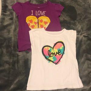 """[Asst Brands] set of 2 """"love"""" tops, size 4"""